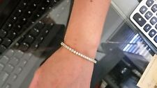 5.12 CT F SI IDEAL CUT NATURAL DIAMOND TENNIS BRACELET 14K WHITE GOLD 7 INCHES