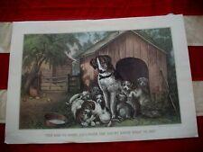 """Vtg Currier/Ives """"She Had So Many Children"""" Puppy Dog Litter Calendar Art Print"""