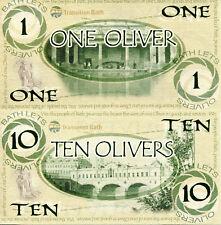 ENGLAND - City of Bath 1 & 10 Olivers Fun-Fantasy Note Pair of Banknotes - RARE