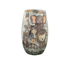 "Stony Creek Lighted Glass 5"" Vase - Animals - We love you"