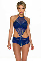 Damen Netz Overall Body Catsuit Playsuit GoGo Dance Disko Party blau S 32 34 36