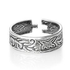 Silver Toe Ring Half Finger Open  Adjustable 925 Sterling Butterfly Vines