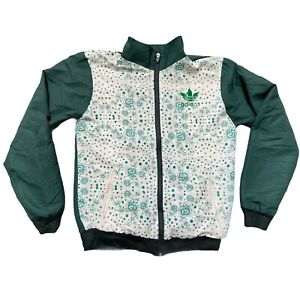 """Adidas Sports Shell Jacket Green White Vintage Full Zip L Large 20"""" Mens Track"""