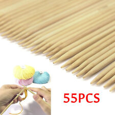 55 Pcs Double Pointed Bamboo Knitting Needles Sweater Glove Knit Tool Set Useful