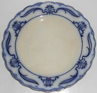 W.H. Grindley Flow Blue China Lotus Dinner Plate