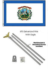 3x5 State of West Virginia Flag Galvanized Pole Kit Eagle Top 3'x5'