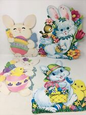 Vintage 4 Easter Spring Bunny Rabbit Chick Lot Die cut Paper Decorations Cutout