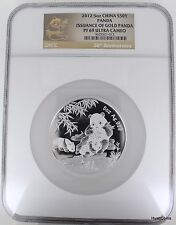 2012 5oz Proof Silver China Panda 50Y Issuance of Gold 30th Anniv. NGC PF69 COA
