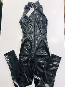 Dark-gloss Sleeveless Catsuit Size 8