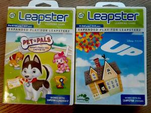 "Leap Frog Leapster Bundle SET 2 Disney Pixar ""Up"" & ""Pet Pals"" Dogs Learn"