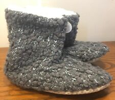 Womens Xhilaration Knit Slippers Charcoal Grey Silver Sequins Women's M 7-8