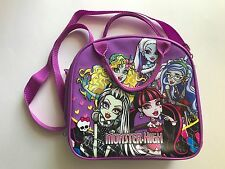Monster High Shoulder Strap Purple Insulated Lunch Box Lunch Bag School Bag *euc