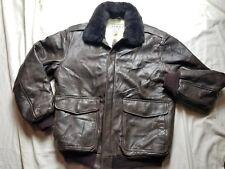 LL Bean FLYING TIGER Vrown Leather Shearling Wool Flight Jacket Small Regular