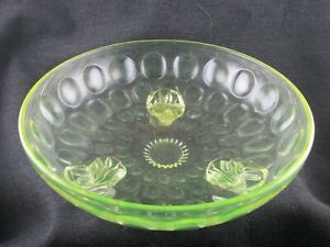 1880S CANARY VASELINE KING N SON FRENCH DOT THUMBPRINT 8 IN FTD BOWL EAPG GLOWS