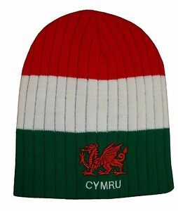 Wales Rugby Red White Green Stripe Beanie Hat - Cymru Rugby