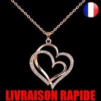 Collier Cœur Or Rose Cristal Double Cœur Pendentif Bijoux Amour Strass Chaîne