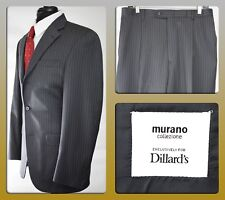MURANO Collezione for Dillard's Men's 40 L Gray Wool Pinstripe 3 Button Suit