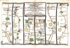 Antica mappa, le strade di Chelmsford a St. Edmunds Bury & di zafferano Walden