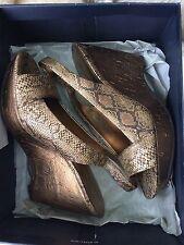 Anne Klein Gold/Bronze Snake Platform Slingback Shoes NWB Stunning 8M