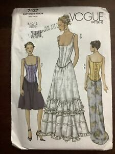 New VOGUE Misses Top & Skirt Pattern 7427 Size 8-12 Factory Folded