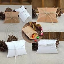 1-20pcs Kraft Paper Pillow Gift Boxes Candy Box Wedding Party Favors Bags