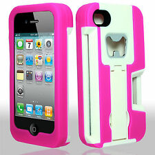 For Apple iPhone 4 KICKSTAND Case Bottle Opener Card Holder White Hot Pink