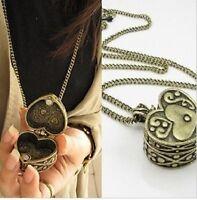 N253 Betsey Johnson Bronze Love Heart Secret Opening Box Necklace US
