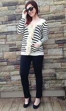 Ralph Lauren Sport  Womens Cotton Linen Ruffled Cream Black Cardigan Size Large