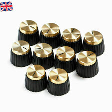 More details for 10 x guitar amp knobs black with gold cap fits marshall amplifier