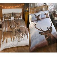 WINTER HIGHLAND STAG DUVET COVER SETS SINGLE AND DOUBLE WILDLIFE ANIMAL BEDDING