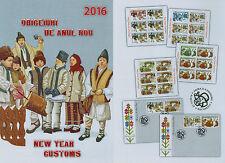 Rumänien 2016 Neujahrsbräuche,NEW YAHR CUSTOMS,Pluguşorul Mi.7163-66,Zf.,KB,FDC