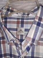 Peter Millar Men's L Button Down Shirt Long Sleeve Blue Brown Plaid 100308 Nice!