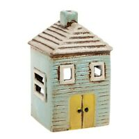 Ceramic Blue House Village Pottery Country Ornament Tea Light Holder