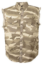 MEN'S MOTORCYCLE SAND CAMO COTTON HALF SLEEVE CUT OFF SHIRT WITH FRAYED SLEEVES