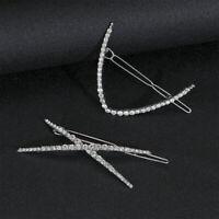 Women Crystal Rhinestone Shiny Hair Clip Barrette Metal Hairpin Hair Accessories