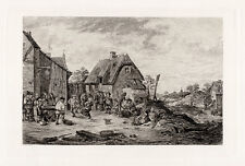 """Lovely Antique DAVID TENIERS Detailed 1800s Etching """"Old Flemish Town Fair"""" COA"""