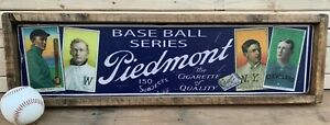 Antique Style T206 Piedmont Blue Back Wood Printed Sign AWESOME!! Ty Cobb 12x48