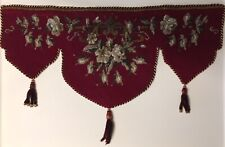 1840 Antique Beaded Needlepoint Valance Burgundy Red White Gray Roses Shelf