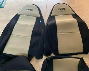 Coverking Tan Beige w/ Black Custom Seat Covers Jeep Wrangler Set 2 Seats NEW