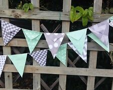 Modern Bunting handmade fabric 15 flags - mint with grey modern look