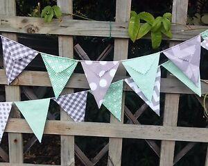 Modern Bunting handmade fabric 15 flags - mint with grey modern look