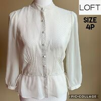 Ann Taylor LOFT Womens Blouse Petite Long Sleeve Polka Dot Top Cream Sheer 4P