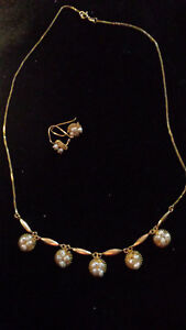 14K gold Vintage Victorian pearl necklace and earrings set