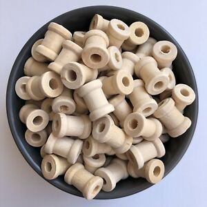 20X Natural Unpainted Wood Beads 17x12mm Wooden Column Tube Craft Bead 4mm Hole