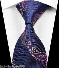 New Stripes Paisleys Purple Gold Pink JACQUARD WOVEN 100% Silk Men's Tie Necktie