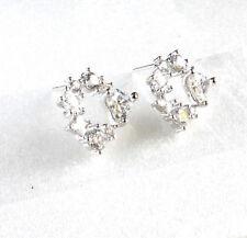 Women Girl White Gold plated Clear Heart Star CZ Cubic Zirconia Stud Earrings