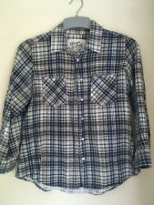 Ladies Blue Brown & White 3/4 Sleeved Shirt Blouse Top Size 8-10 By Brave Soul
