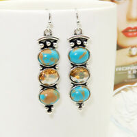 Vintage Silver Plating turquoise Earrings Hook Women Dangle Drop Jewelry Gift