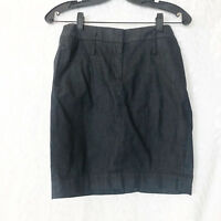 LOFT Ann Taylor soft black denim pencil skirt beltloops side back pockets 2P