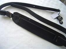 Vintage extra long en cuir de peau de mouton rembourré épaule Sangle pour guitare Noir